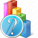analytics, bar, chart, graph, question, statistics, stats icon