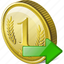 coin, export, money, payment icon
