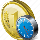 clock, coin, money, payment icon