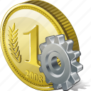 coin, money, payment, settings icon