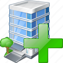 add, building, business, house, office icon