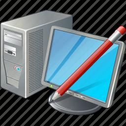 computer, desktop, edit, monitor, pc icon