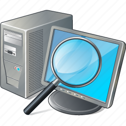 computer, desktop, monitor, pc, search2 icon