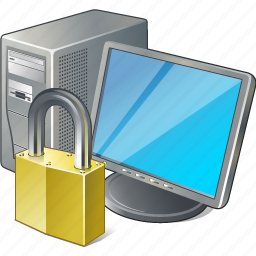 computer, desktop, locked, monitor, pc icon