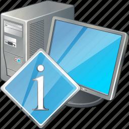 computer, desktop, info, monitor, pc icon