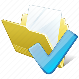 document, file, folder, ok icon