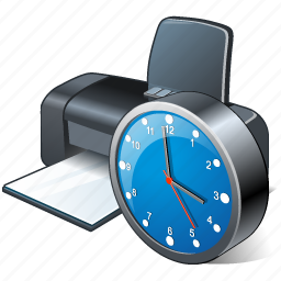 clock, print, printer icon
