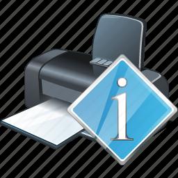 info, print, printer icon