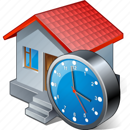 building, clock, home, house icon