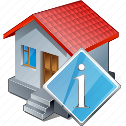 building, home, house, info icon