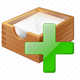 add, box, documents, office, paper icon
