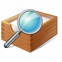 box, documents, office, paper, search icon