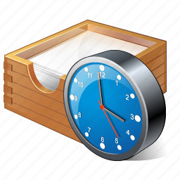 box, clock, documents, office, paper icon