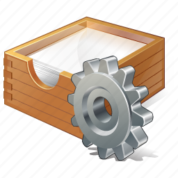 box, documents, office, paper, settings icon