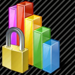 analytics, bar, chart, graph, locked, statistics, stats icon