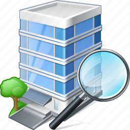 building, business, house, office, search icon