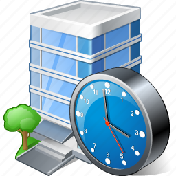 building, business, clock, house, office icon