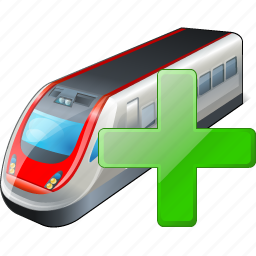 add, train, transport, travel icon