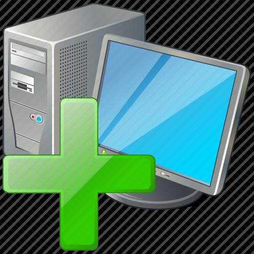 add, computer, desktop, monitor, pc icon