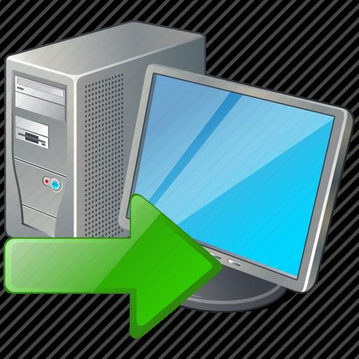 computer, desktop, export, monitor, pc icon