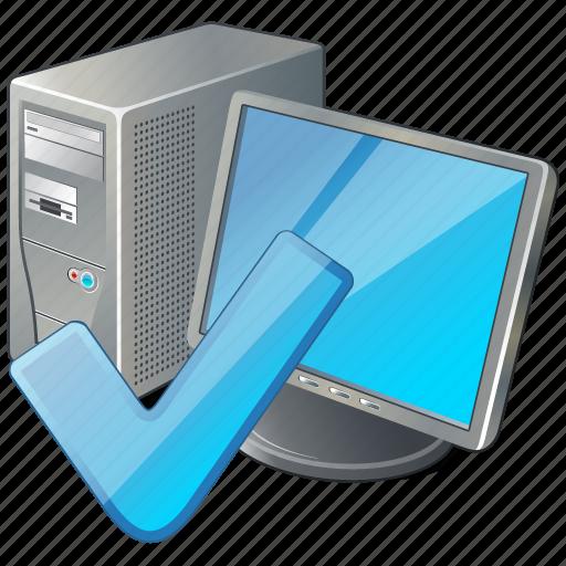 computer, desktop, monitor, ok, pc icon