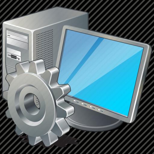 computer, desktop, monitor, pc, settings icon