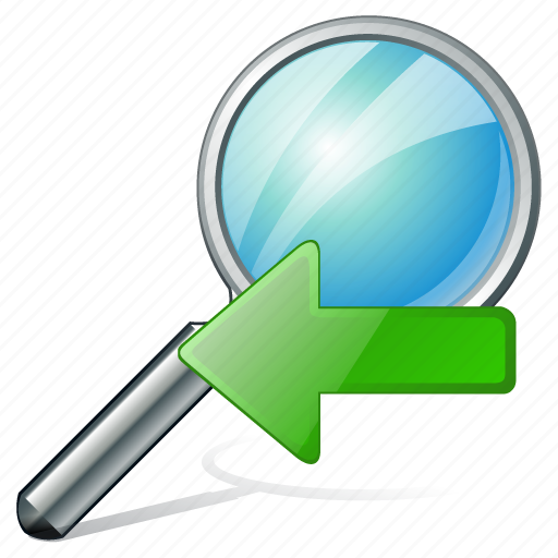 left, previous, search, zoom icon