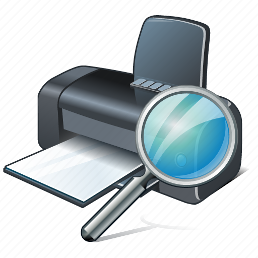 print, printer, search icon