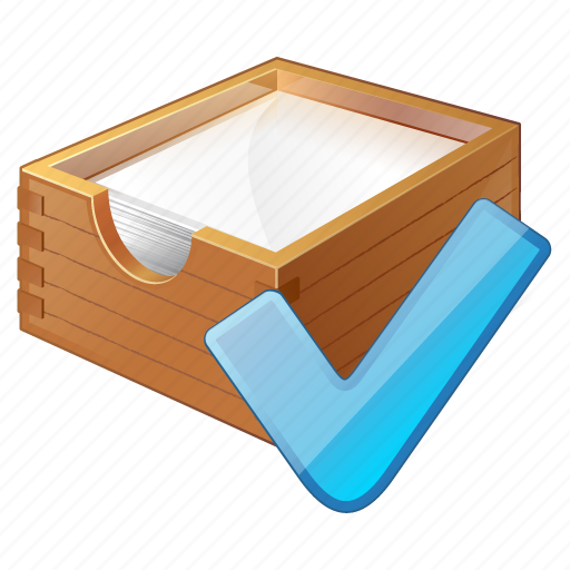 box, documents, office, ok, paper icon