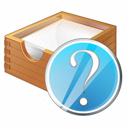 box, documents, office, paper, question icon