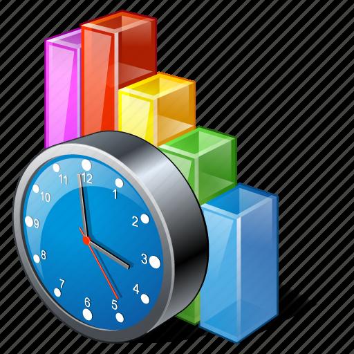 analytics, bar, chart, clock, graph, statistics, stats icon