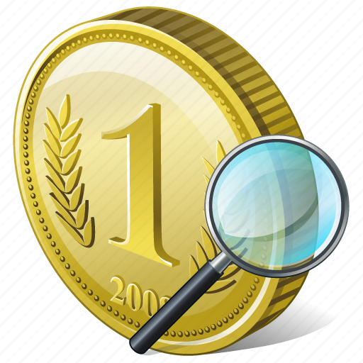 coin, money, payment, search icon