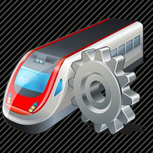 settings, train, transport, travel icon