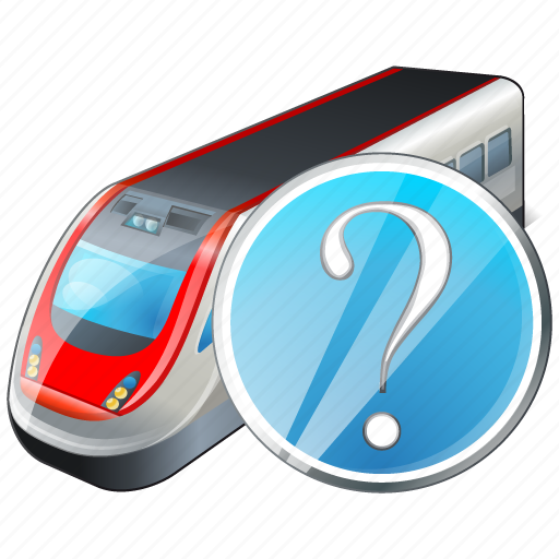 question, train, transport, travel icon