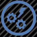 danger, engine, error, gear, message, shock, vk icon
