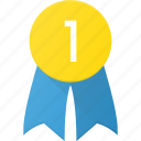 award, badge, first, reward, win icon