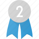 award, badge, place, reward, second icon