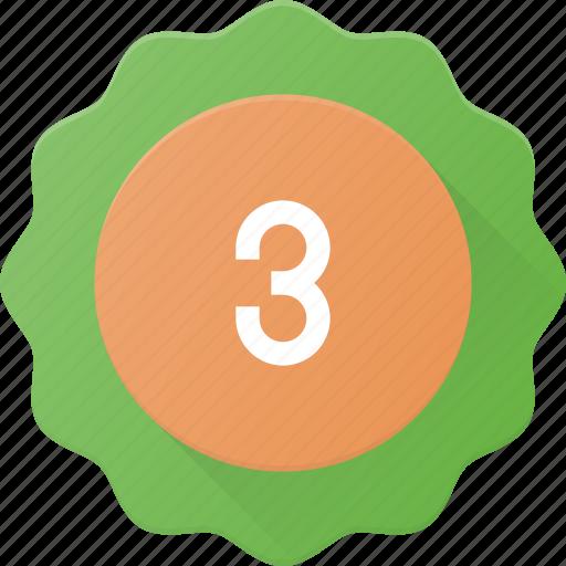 award, badge, place, reward, sticker, third icon