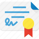 award, certificate, certify, document, reward icon