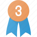 award, badge, reward, third icon