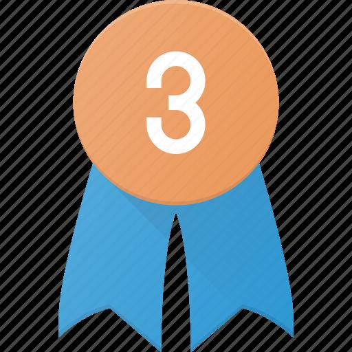 award, badge, reward, third icon