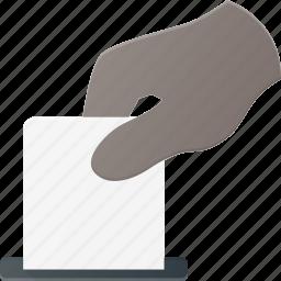elect, election, hand, put, vote icon