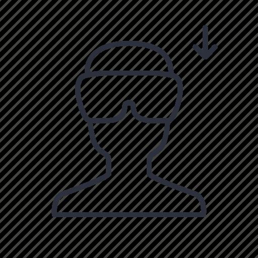 arrow, download, person, reality, virtual, vr icon