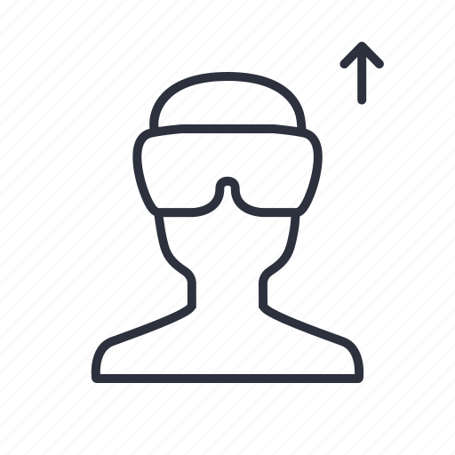 arrow, person, reality, upload, virtual, vr icon