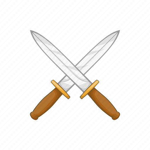 Cartoon Handle Knife Knives Sharp Sign Steel Icon
