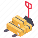 inventory pushcart, manual forklift, transportation trolley, warehouse cart, warehouse trolley icon