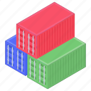 cargo containers, containers, delivery containers, logistic containers, shipping containers icon