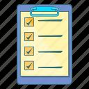 checklist, clipboard, document, file
