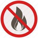 fire, flame, no, prohibited, signs, warning icon