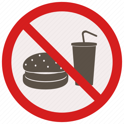 drink, food, no, or, prohibited, signs, warning icon